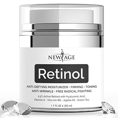 Amazon.com: New Age 2.5% Retinol Moisturizer for Face with Free Gift Vitamin C Eye Serum Hyaluronic Acid Jojoba Oil Aloe Vera and Vitamin E-Boosts Collagen ...