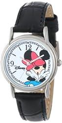Disney Women's W000855 Cardiff Minnie Mouse Black Leather Strap Watch