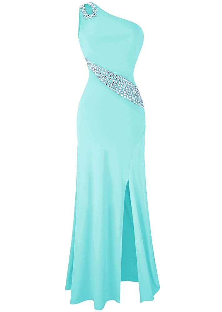 Ice bluee MorySong Women's One Shoulder Beading Prom Dress Sexy Side Split Evening Dress