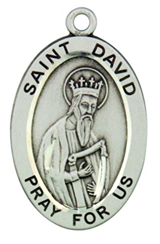 HMHReligiousMfg Sterling Silver Patron Saint David Pray for Us Pendant, 1 1/16 ()
