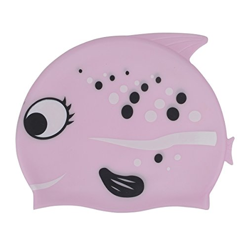 Zelta Waterproof Swimming Cap Animal Shaped Seamless Silicone for Kids  (Pink Bubble Fish) ()