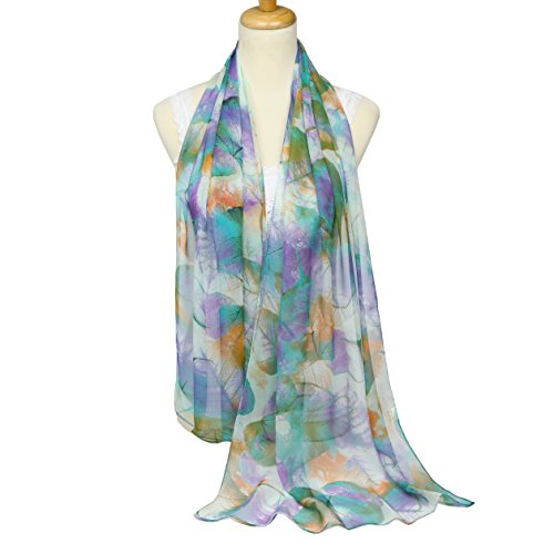 ChikaMika Scarves for Women Soft Voile Scarf Lightweight Wrap Shawl Scarves (blue) -