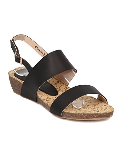 Alrisco Women Low Wedge Sandal - Open Toe Slingback Sandal - Walking Comfortable Casual Everyday Sandal - HA50 by Black Leatherette WoxpFLFc