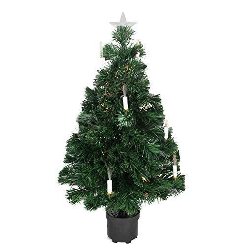 Dak 3' Pre-Lit Fiber Optic Artificial Christmas Tree with Candles - Multi Lights (Fibre Optic Christmas Tree Parts)