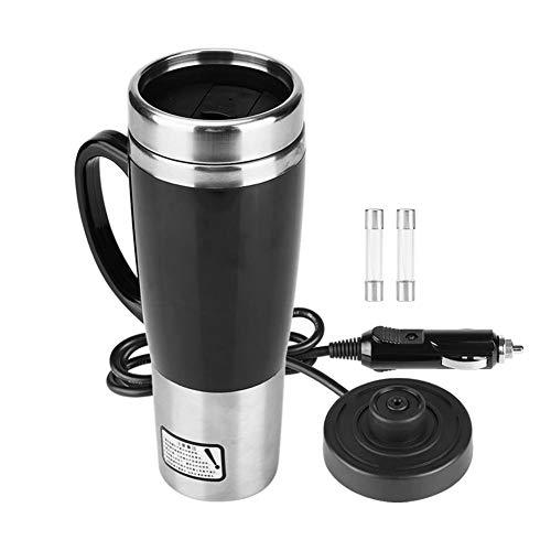 KIMISS 450ML 12V/24V Hervidor de acero inoxidable del coche Hervidor de agua de electrica en el coche - Hervidores de bebida de viaje Taza de cafe de viaje Botella de agua (Mug Negro)(12V)