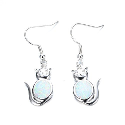 Cat Gemstone Ring - OMZBM Cute Cat Hook Earrings Charm Sterling Silver Fire Opal Gemstone Dangle Earrings Jewelry Plated Platinum Women Girl,White