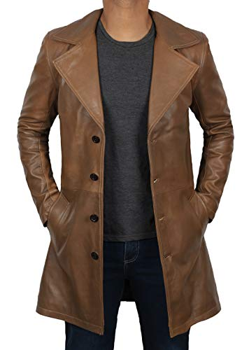 (Brown Jackson Winter Outerwear - Antique Real Brown Leather Car Coat | XL)