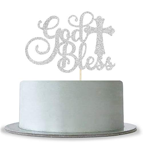 God Bless Cake Topper Silver Glitter First Communion Decorations Bless This Child]()