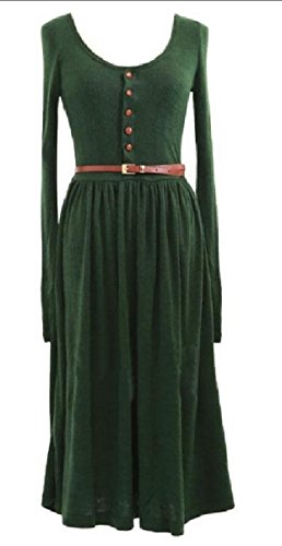 Long Circle Fall Women Blackish Color Dress Solid Full Spring Green Sleeve Coolred ZBtvqWZ