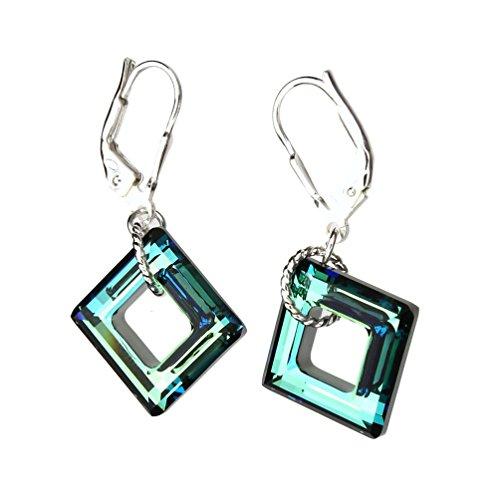 [Swarovski Elements Crystal Square Sterling Silver Leverback Earrings] (Crystal Rope Earrings)