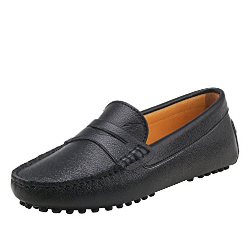 Shenduo Women's Loafer Flats Soft Leather Moccasins Boat Slippers Driving Shoes D7052 Black