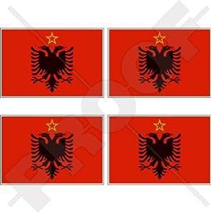 "ALBANIA Albanés Bandera 1946-92 Pacto de Varsovia 2"" (50mm) Pegatinas de Vinilo Adhesivos, Stickers, Calcomanias x4"