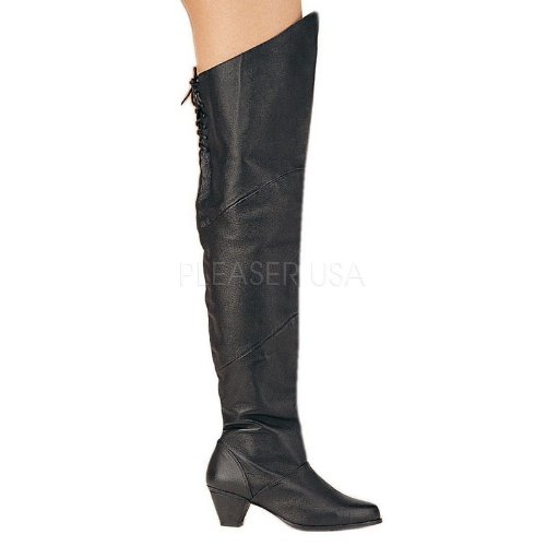 Pleaser - Botas de piel para mujer negro Schwarz