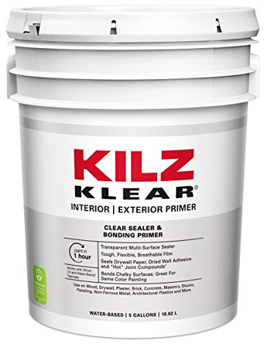 (KILZ Klear Multi-Surface Stain Blocking Interior/Exterior Latex Primer/Sealer, Clear, 5)