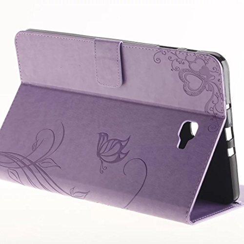 SRY-Funda móvil Samsung Samsung Tab A 10.1 pulgadas T580 T585C Funda de la caja, retro Folio Flip Funda de flores en relieve Patrón de la mariposa Funda para Samsung Tab A 10.1 pulgadas T580 T585C ( C Purple