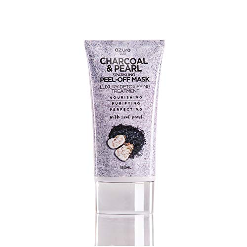 (Charcoal and Pearl Luxury Anti Aging Sparkling Peel Off Mask By Azure – Clears Blackhead, Acne, Dirt & Oil | Reduces Wrinkles & Scars | Purifies and Detoxifies Skin –)