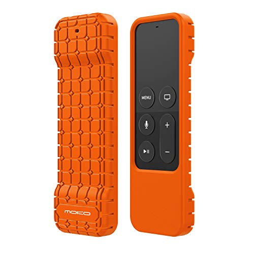 MoKo Silicone Case Compatible with Apple TV 4K/4th Gen Remote, Lightweight Shockproof Protective Cover with Non-Slip Silicone Fit Apple TV 4K Siri Remote Controller - Orange