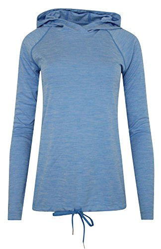Under Armour Women's Athletic HeatGear Long Sleeve Top Hooded Anti Odor Shirts (M, Water)