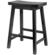 Winsome Wood 24-Inch Saddle Seat Counter Stool, Black
