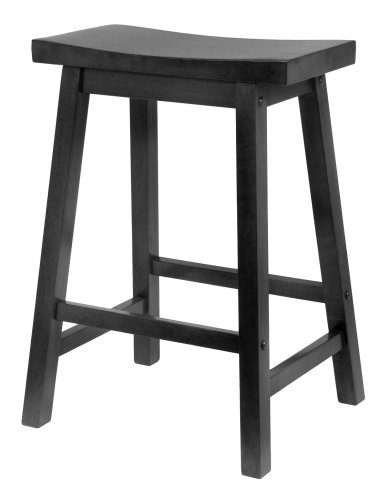 29 Inch Saddle Seat Wood (Winsome Wood 24-Inch Saddle Seat Counter Stool, Black)