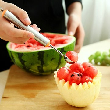 (Multi-function Stainless Steel Fruit Carving Knives Watermelon Melon Balls Ice Cream Spoon - Kitchen Tools & Gadgets Kitchen Fruits Tool - 1 x Melon)
