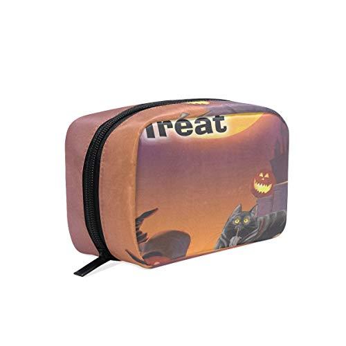 Cosmetic Bag Celebration Of Halloween Cat Girls Makeup Organizer Box Lazy Toiletry Case -