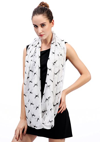 Lina & Lily Sketch of Dogs Print Women's Infinity Scarf Lightweight (Beagle-White) by Lina & Lily (Image #2)