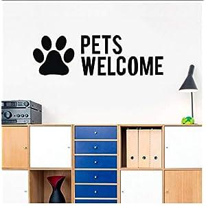 Buzdao Letters Wall Sticker Pet Shop PVC Wall Decal Dog Cat Mural Art Sticker Pet Grooming Salon Decoration 56X17Cm