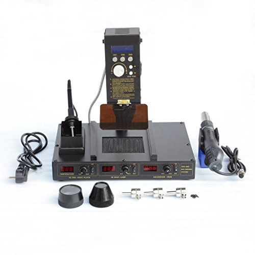 - Liquor 6 in 1 Rework Soldering Station Hot Heat Air Iron Gun 3 Temperature Zone 110V 1000W
