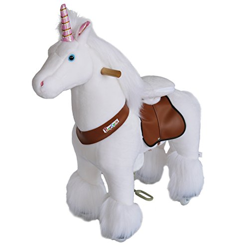 PonyCycle Official Ride On Horse Unicorn No Battery No Electricity Mechanical Unicorn White Medium for Age 4-9