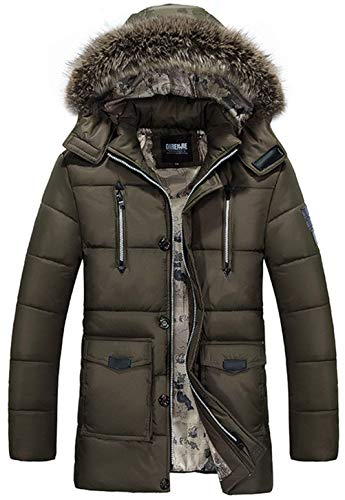 Long Jacket Collar Men's Fur Apparel Pocket Multifunction Warm Winter Braun Cotton Men's Multi Detachable Ntel Polyester Hooded nvHZfqH