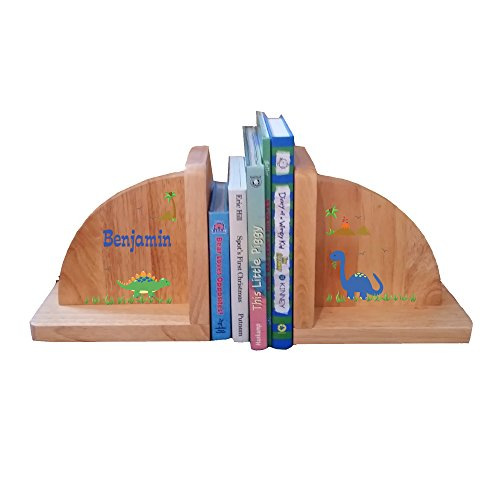 Personalized Dinosaur Natural Childrens Wooden Bookends by MyBambino