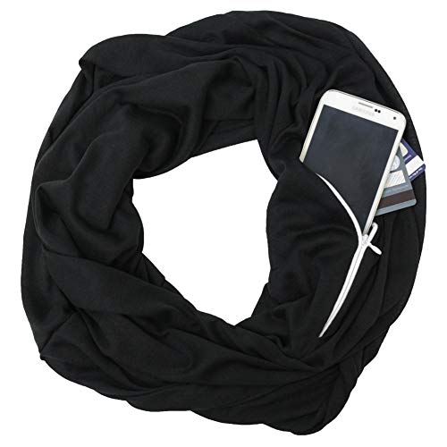 Scarf With Pockets - Pop Fashion Scarves for Women, Girls, Ladies, Infinity Scarf with Zipper Pocket Pattern Print Lightweight Wrap - $44.99 (Black, Medium)