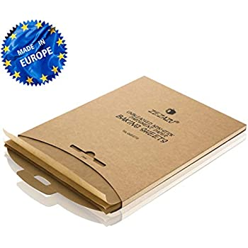 ZeZaZu Parchment Paper Sheets for Baking - MADE IN EUROPE - Precut 12x16 inch (250 Sheets) -RECLOSABLE PACK- Exact Fit for Half-Sheet Baking Pans, Unbleached, Non-stick, Dual-Sided Siliconized Coating