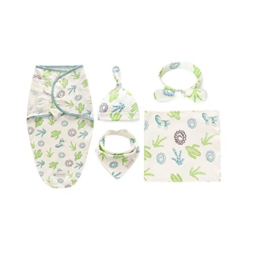 Baby Swaddle Wrap Blankets with Hat + Headband + Bandana Bib Set, 100% Cotton Knitted, 5-Pack Shower Gift for Newborn Infants Swaddling & Receiving & Sleeping & Drooling (for 0-3 Months, Cactus)