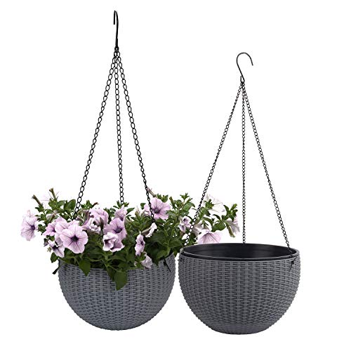 T4U Plastic Hanging Planter Grey Pack of 2, Self Watering Basket Round Flower Plant Orchid Herb Holder Container for Home Office Garden Porch Balcony Wall Indoor Outdoor Decoration ()