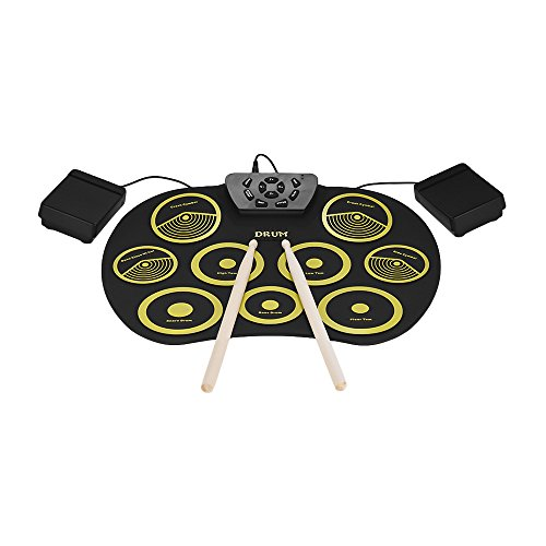Walmeck Portable Electronic Drum Set Roll Up Drum Kit 9 Silicon Pads USB Powered with Foot Pedals Drumsticks USB Cable for Students Kids by Walmeck