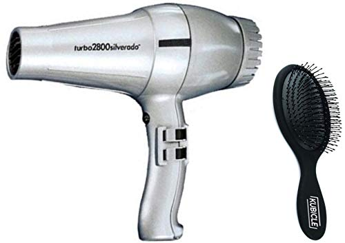 Turbo Italian Hair Blow Dryer with Extra Quiet Operation with Multiple Heat/Speeds and Kubicle Hair Brush Bundle