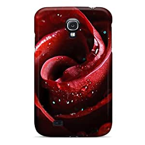 (AIzLY3063Flkjf)durable Protection Case Cover For Galaxy S4(drops Of Water On Red Rose)