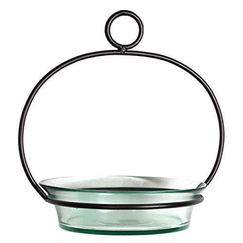Glass Birdbath Birdfeeder G446FR Clear Hanging Bird Mealworm Dish Feeder Birdseed Bowl. Romantic Decor & More (Hanging Small Feeder Platform)