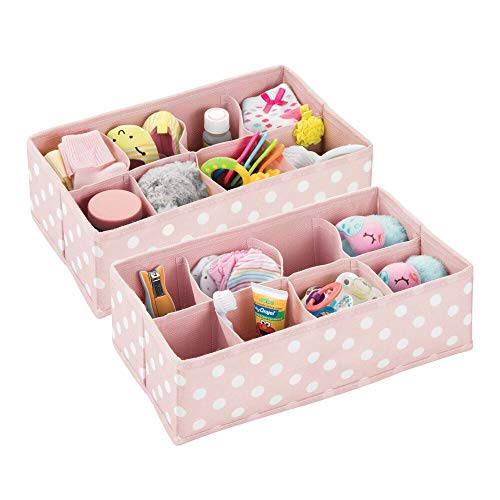 (mDesign Soft Fabric Dresser Drawer and Closet Storage Organizer for Child/Kids Room or Nursery - 8 Section Rectangular Organizer - Fun Polka Dot Print, 2 Pack - Pink with White Dots)