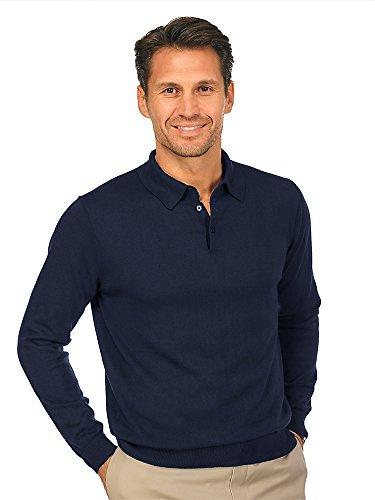 Paul Fredrick Men's Silk, Cotton, \ Cashmere Solid Polo Collar Pullover Midnight Xl