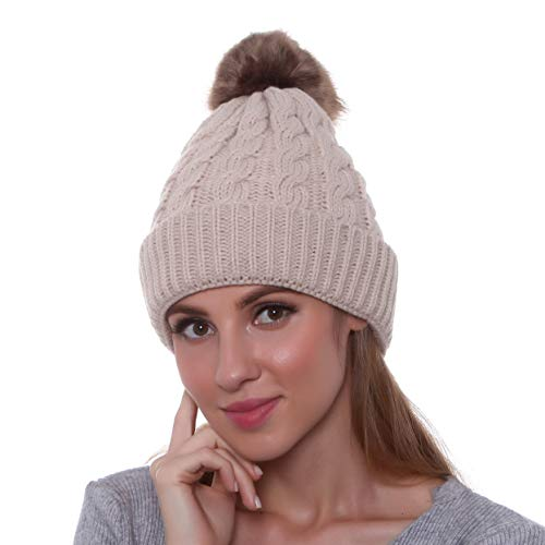 3fabd867fe1ca GRAMONI Women s Winter Ribbed Knit Faux Fur Pompoms Chunky Lined Beanie Hats