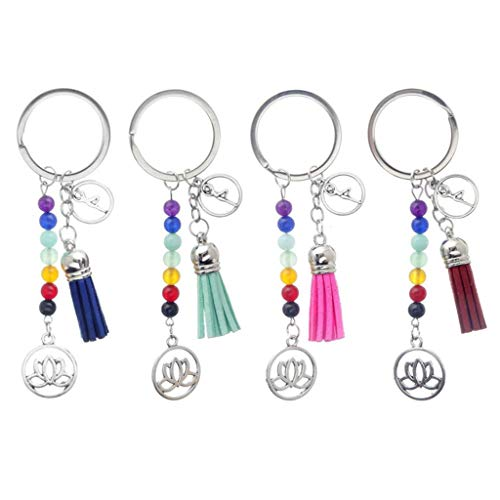 Pakala66 7 Chakras Yoga Keychain Energy Fitness Keychain, Lotus Tassel Keychain with Colorful Stone-4 Pack