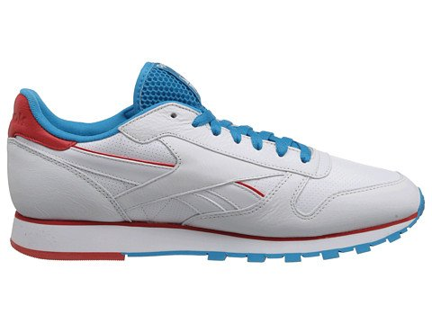 Reebok Lifestyle Mens Classic Leather Perf White/Bomb Blue/Red 12.5 D - Medium UJpkszY
