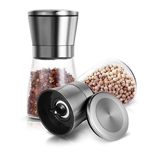 Salt and Pepper Grinder Set, Adoric Salt and Pepper Shakers Mill Adjustable and Easy To Use Stainless Steel Salt Grinders and Pepper Mill Shaker Mills Set Premium Salt & Pepper Mills Set of 2
