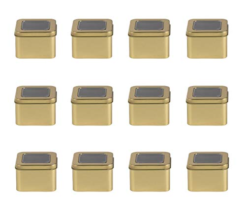 Juvale Square Tin Can with Clear Top Lid - 12-Pack 6-Ounce Empty Cube Steel Box Storage Container for Treats, Gifts, Favors and Crafts, Gold, 2.7 x 1.75 x 2.7 Inches (Box Favor Candle)