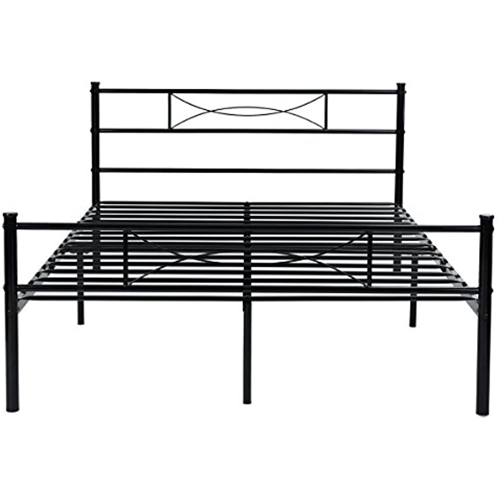 bb5a85821ea SimLife Steel Double Platform Box Spring Needed Black Metal Bed Frame Full  Size 10 Legs Two Headboards Mattress Foundation Kitchen
