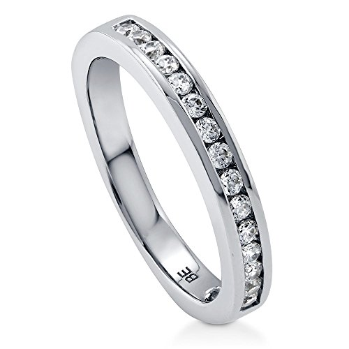 BERRICLE Rhodium Plated Sterling Silver Channel Set Cubic Zirconia CZ Half Eternity Band Ring Size 9 (Set Band Eternity Channel)