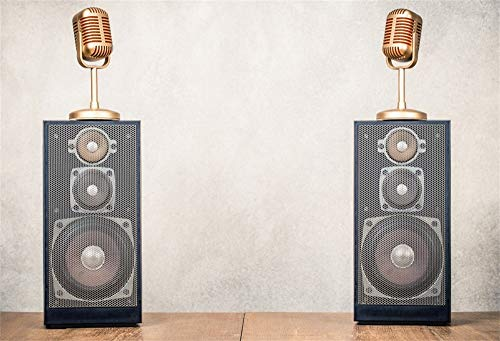 AOFOTO 6x4ft Music Backdrop Retro Stereo Acoustic Speakers System and Golden Microphones Photography Background Friends Gathering Parties Performace Vinyl Photo Backcloth Screen Wallpaper (Best Speakers For Hip Hop Music)